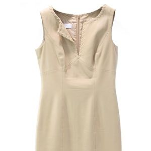 ESCADA TAN LEATHER SLEEVELESS DRESS SIZE 2-4